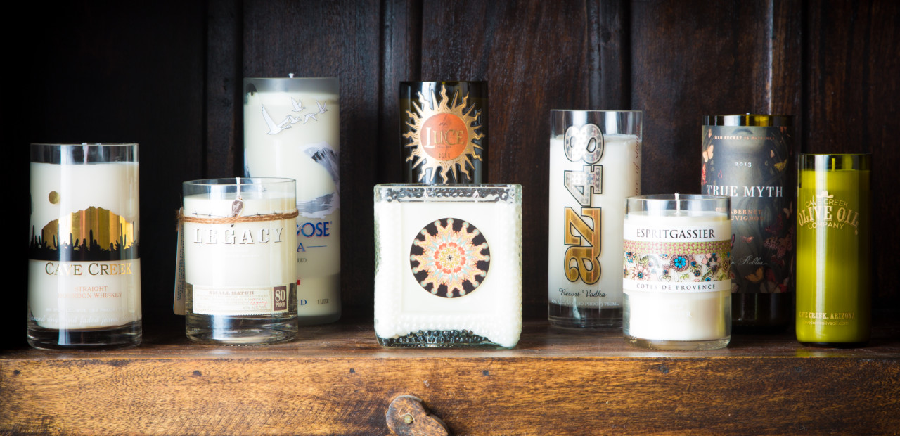 candles from recycled bottles