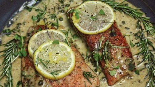 Lemon Rosemary Salmon Piccata